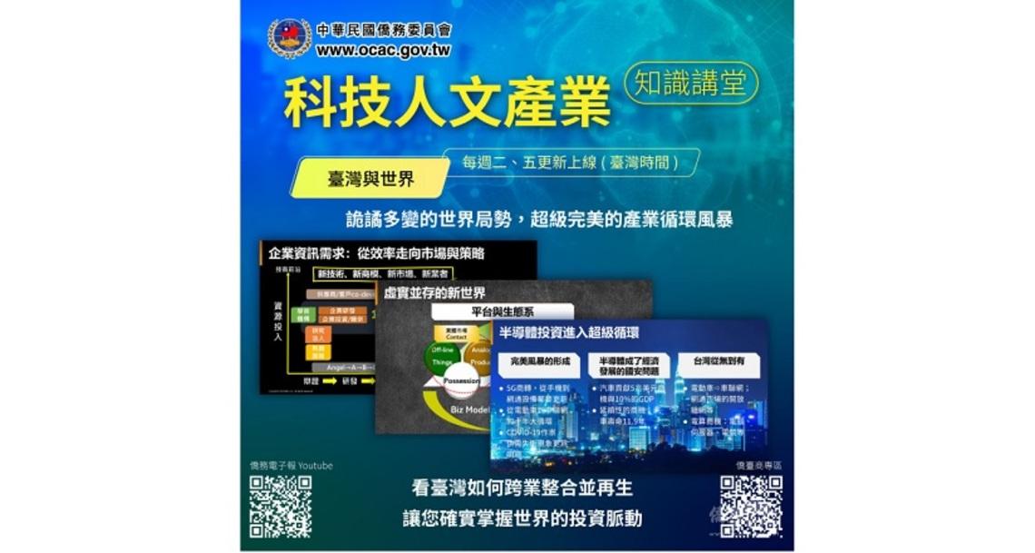 僑委會「科技人文產業知識講堂」全新推出  臺灣與世界系列/波新聞