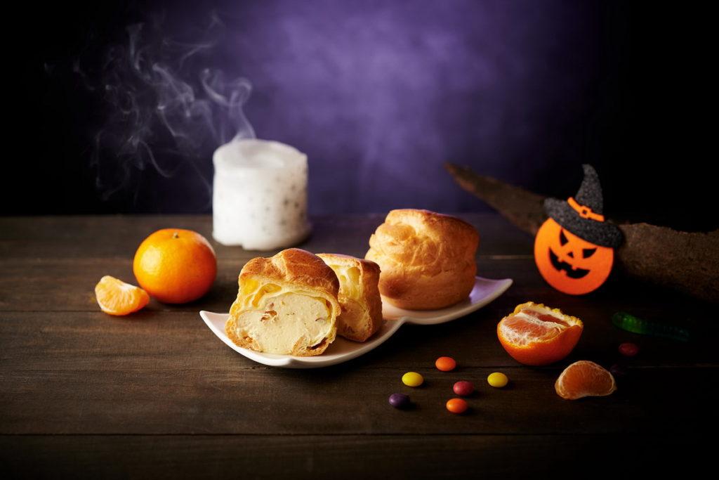 開平餐飲烘焙組師生共創「嚇破膽蜜橘泡芙」,一口咬下保證讓消費者超驚訝,有著嚇破膽的酸甜好口感。永豐餘X全聯/提供