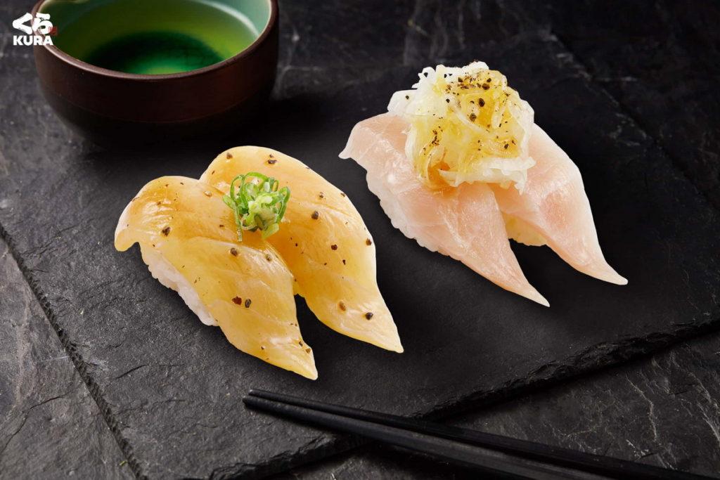 藏壽司推出兩款全新商品「白皮旗魚佐石澤沙拉醬」和「黑胡椒醃漬劍旗魚」。